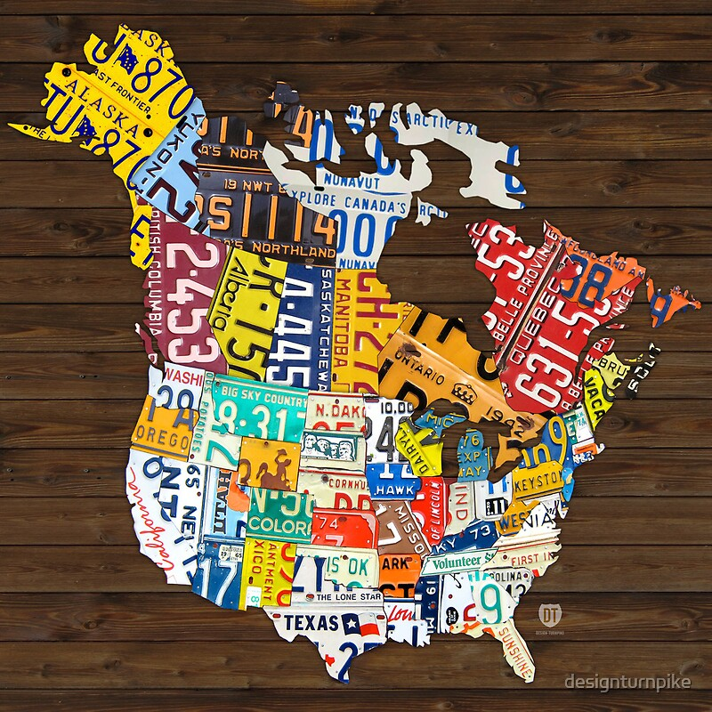 License Plate Map of North America Canada and United States