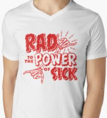 Rad to the Power of Sick- red Men's V-Neck T-Shirt