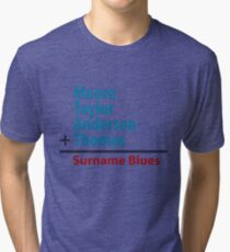 Surname Blues - Moore, Taylor, Anderson, Thomas Tri-blend T-Shirt
