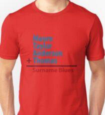 Surname Blues - Moore, Taylor, Anderson, Thomas Unisex T-Shirt