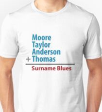 Surname Blues - Moore, Taylor, Anderson, Thomas Unisex T-Shirt
