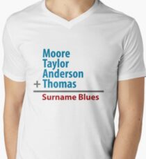 Surname Blues - Moore, Taylor, Anderson, Thomas Men's V-Neck T-Shirt