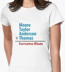 Surname Blues - Moore, Taylor, Anderson, Thomas Women's Fitted T-Shirt