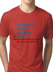 Surname Blues - Hernandez, Garcia, Martinez, Lopez Tri-blend T-Shirt