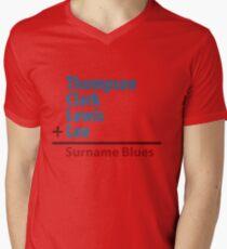 Surname Blues - Thompson, Clark, Lewis, Lee Mens V-Neck T-Shirt