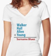 Surname Blues - Walker, Hall, Allen, Young Women's Fitted V-Neck T-Shirt