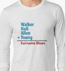 Surname Blues - Walker, Hall, Allen, Young Long Sleeve T-Shirt