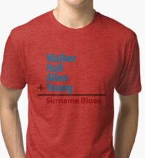 Surname Blues - Walker, Hall, Allen, Young Tri-blend T-Shirt