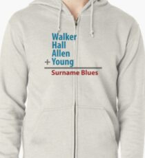 Surname Blues - Walker, Hall, Allen, Young Zipped Hoodie