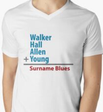 Surname Blues - Walker, Hall, Allen, Young Men's V-Neck T-Shirt