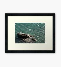 Waves and rock, Salcombe, Devon, UK Framed Print