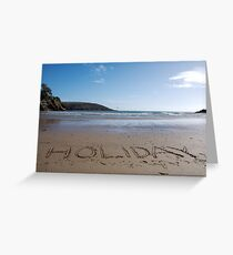 Holiday word in sand on beach, Salcombe, Devon, United Kingdom Greeting Card