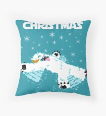 Wampa snow angel christmas card Throw Pillow