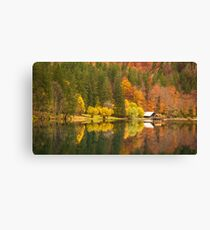 lake of fusine in an moody autumn morning Canvas Print