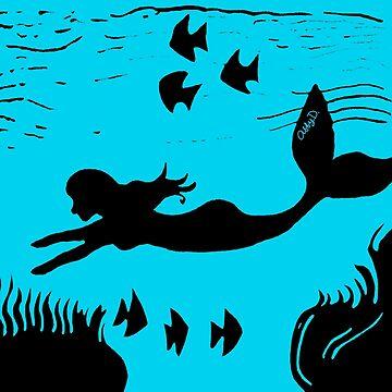 Mermaid Silhouette Art by AbigailDavidson