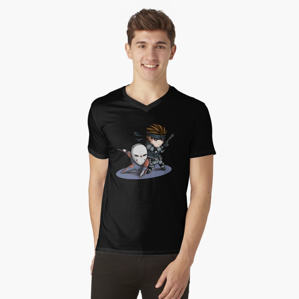MGS1: Fox and Snake Mens V-Neck T-Shirt Front