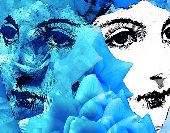 Echoed Face and Roses in Blue – Version Two by Ivana Redwine