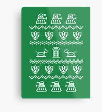 Timey Wimey Christmas (Green) Metal Print