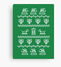 Timey Wimey Christmas (Green) Canvas Print
