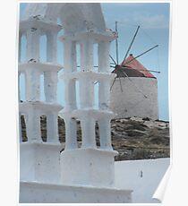Greek Island Windmill Poster