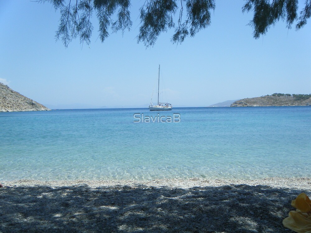Patmos Island Beach and Sailboat by SlavicaB