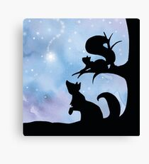 Woodland Shadows - Fox and Squirrel:Winter Canvas Print