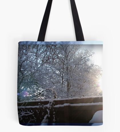 Sun's Rays on Snow Tote Bag