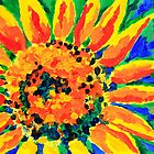 Bright and Cheerful Single Sunflower Acrylic Painting by Beverly Claire Kaiya