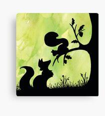 Woodland Shadows - Fox and Squirrel:Spring Canvas Print