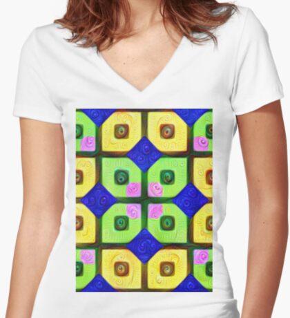 #DeepDream Color Squares Visual Areas 5x5K v1448352654 Fitted V-Neck T-Shirt