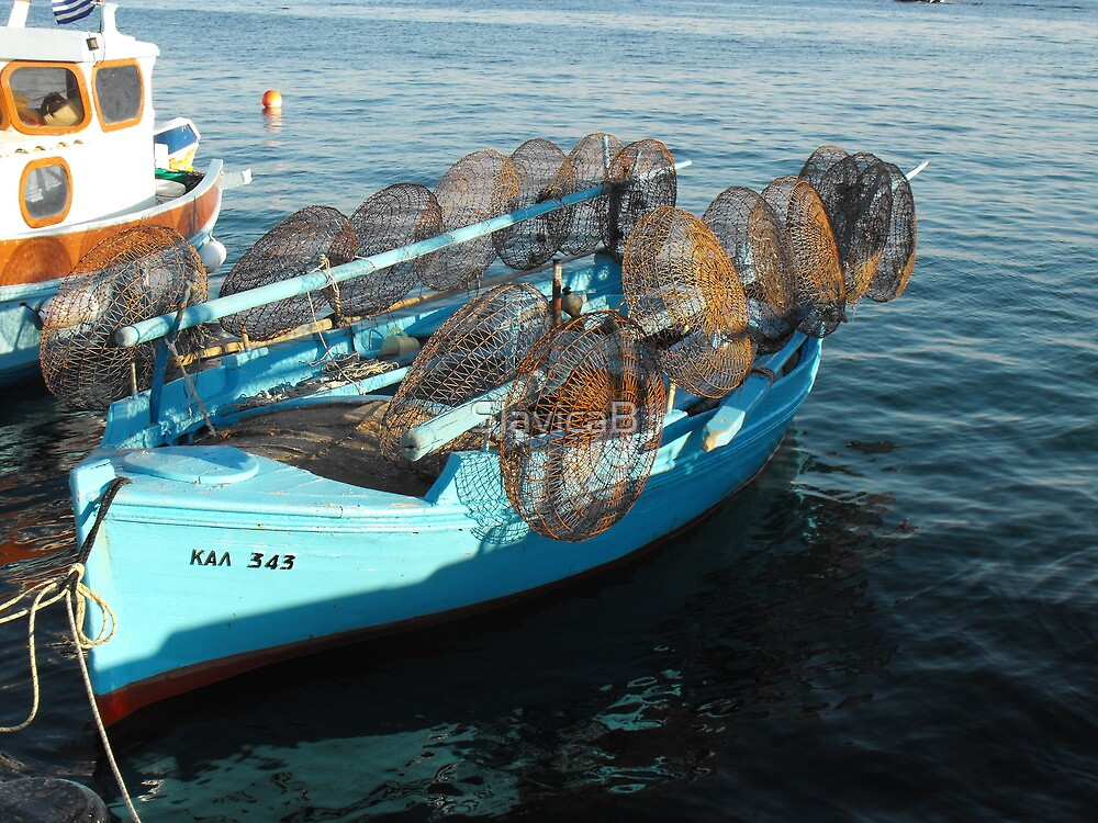 Greek small fishing boat and nets by SlavicaB