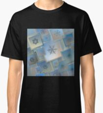 Snowflake collage with real snowflake macro photos Classic T-Shirt