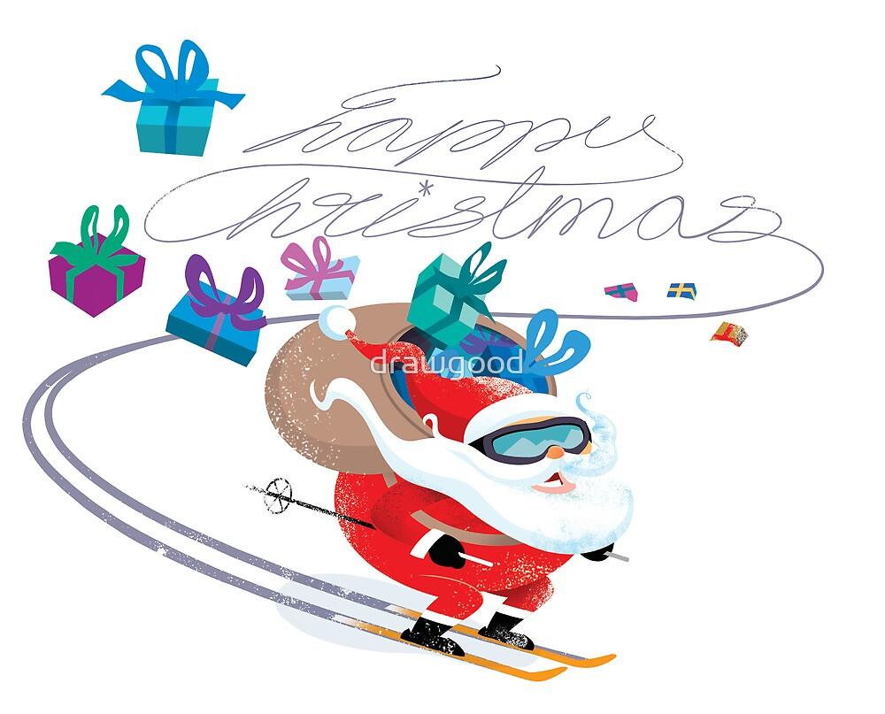 Santa skiing by drawgood