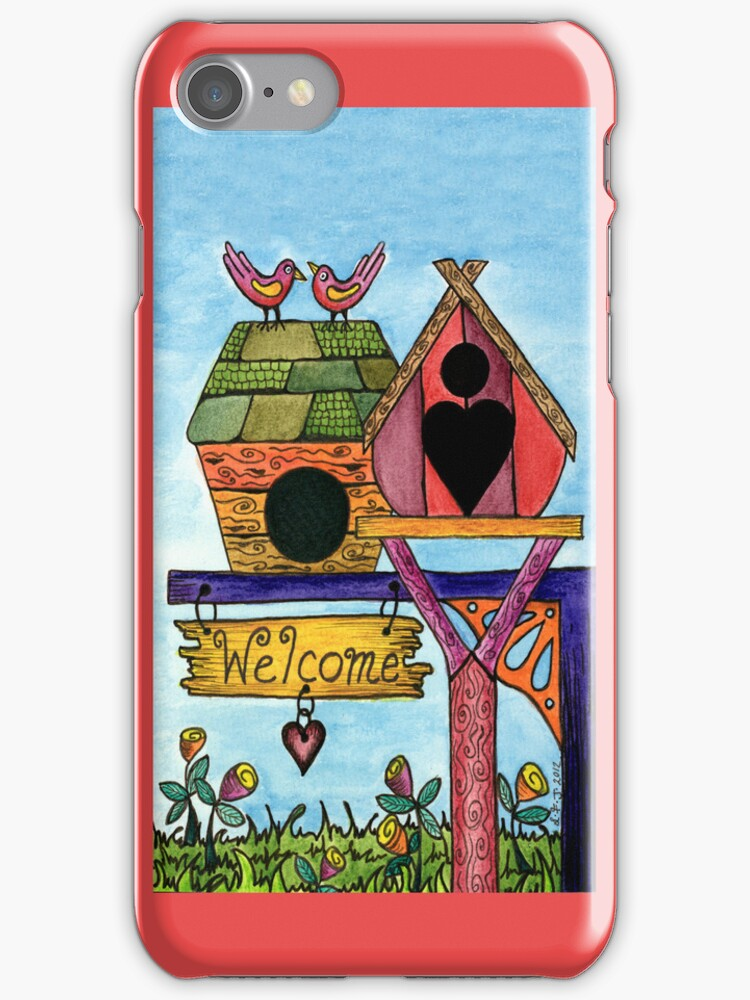 BIRDS WELCOME IPHONE COVER by Lisafrancesjudd