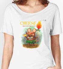 Camiseta ancha para mujer Cute Cave Mouse and his Cheese