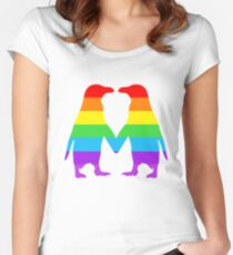 Rainbow penguins in love. Women's Fitted Scoop T-Shirt
