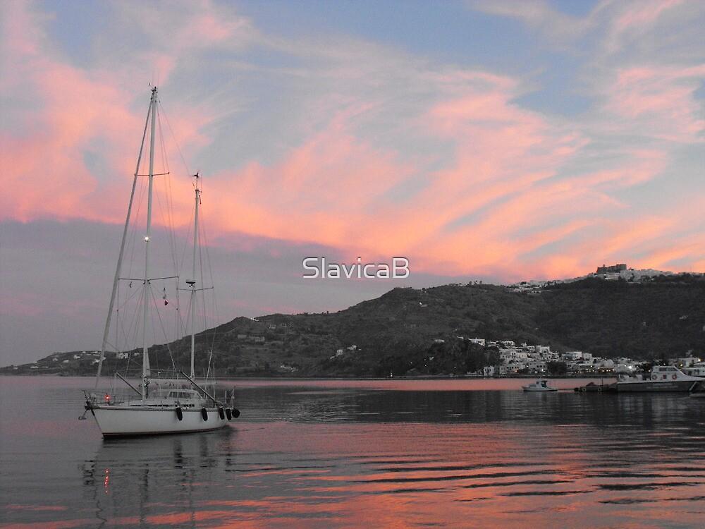 Amel sailboat  in Greek Island Sunset by SlavicaB