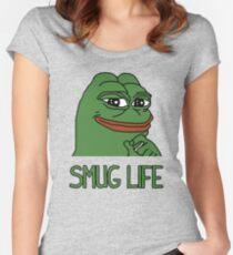 """Camiseta entallada de cuello redondo CAMISAS PEPE FROG """"SMUG LIFE"""" + MÁS"""
