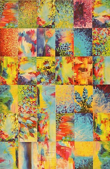 COLORFUL INDECISION 1 - Bold Bright Beautiful Abstract Acrylic Painting Collection Nature Rainbow by EbiEmporium