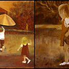 Little Girl In A Hurry - pair- inspired by photograph by Clare Collins by Denise Martin
