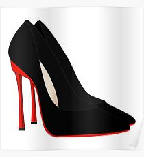 red heels black shoes Poster