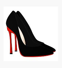 red heels black shoes Photographic Print