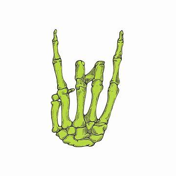 Rock On Skeleton Hand - Green by BonesToAshes