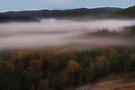 Morning Mist From Broken Bow Dam by Carolyn  Fletcher