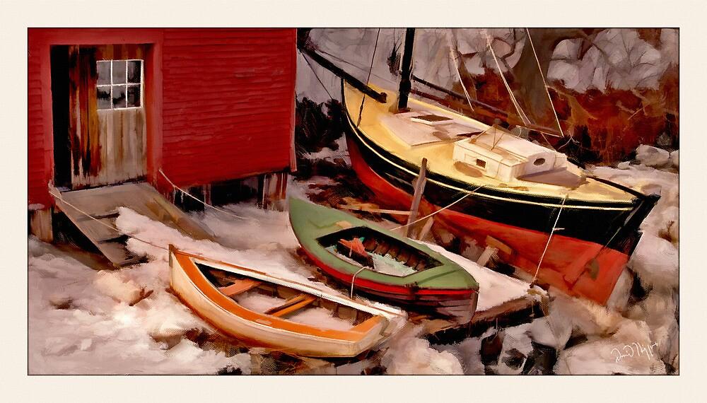Winter Landing, Georgetown, Maine by Dave  Higgins