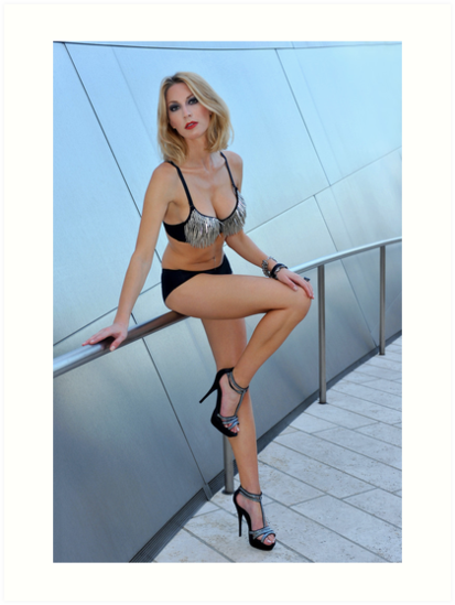 Blond girl in lingerie at LA cityscapes 1 by Anton Oparin