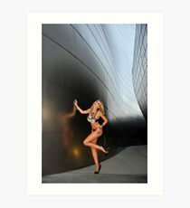 Blond girl in lingerie at LA cityscapes 2 Art Print