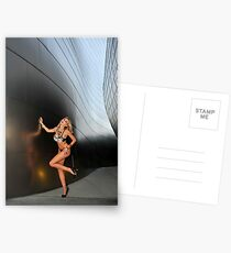 Blond girl in lingerie at LA cityscapes 2 Postcards