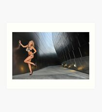 Blond girl in lingerie at LA cityscapes 3 Art Print