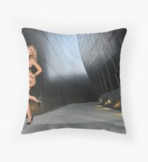 Blond girl in lingerie at LA cityscapes 3 Throw Pillow